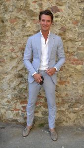 men's spring suit colors, men's light gray suit with white button down and taupe gray tassel loafers