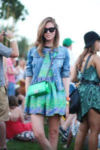 mint green and blue dress with black sunglasses