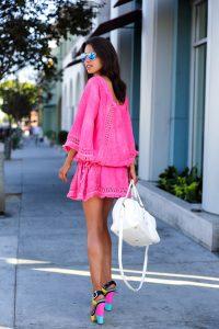 pink sundress with color block heel sandals