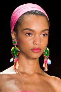 women's statement earrings with pink headband
