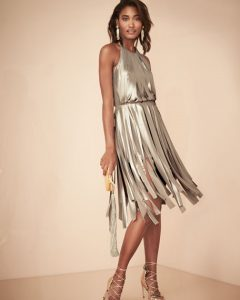 5 Dress Styles Every Woman Should Own, cocktail dress, Halston Heritage champagne metallic halter dress