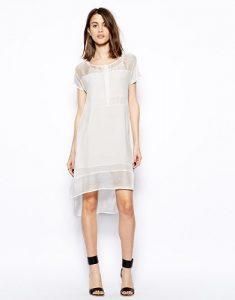 5 Dress Styles Every Woman Should Own, silk t-shirt dress, Aryn K white silk tshirt dress with sheer panels