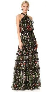 5 Dress Styles Every Woman Should Own, maxi dress for evenings, Alexis tiered chiffon black print dress