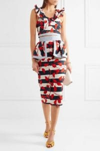 Fourth of July outfit, Johanna Ortiz tobago red, white and blue print peplum skirt and top