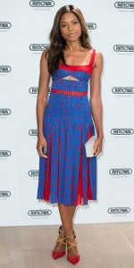 Fourth of July outfit, Naomie Harris in blue, red print dress