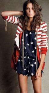Fourth of July outfit, blue with stars dress, with red and white striped bomber jacket