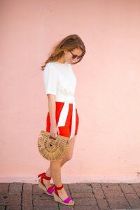 Summer Wardrobe Essentials, GAIA Ark woven bag, coral Draper James shorts and white top