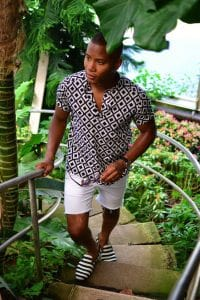 Men's Summer Essentials, men's blue print popover shirt with white shorts and striped espadrilles
