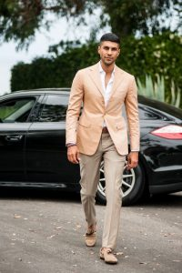 Men's Summer Essentials, men's popover shirt with suit, peach sport coat and khaki pants with white popover