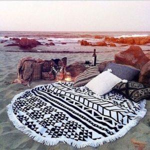 Beach Essentials-round print beach towel organic cotton