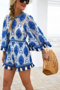 Beach Essentials-sassy cover-up, blue print cover-up with blue and white tassels, straw beach bag