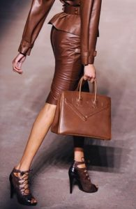 tyle Essentials at Every Age, 50 year old leather, cognac leather bag, skirt and leather blazer