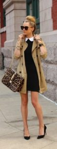 Style at Every Age, 30's great handbag, leopard purse with black dress and trench coat