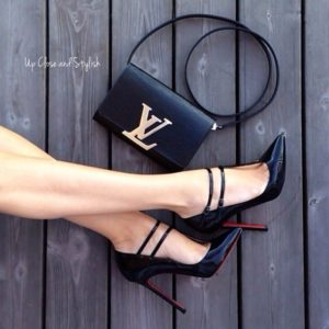 Work Wear to Evening Style, Christian Louboutin black mary janes and LV black bag