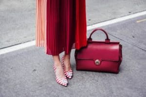 Work Wear to Evening Style, striped high heels and red bag-