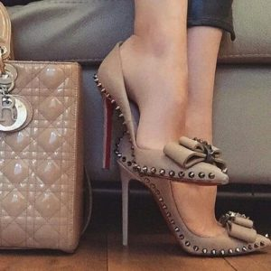 Work Wear to Evening Style, christian louboutin nude stud bow high heel and bag