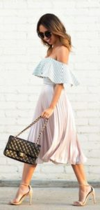 summer date night outfit, midi pleated skirt, striped off the shoulder flounce top