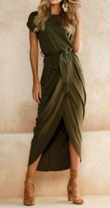 summer date night outfit, olive green wrap high low hem maxi dress and high heel sandals