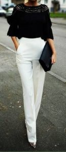 ummer date night outfit, white dress pants, black three quarter length top, animal skin heels