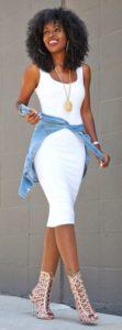 summer date night outfit, white sundress and denim shirt tied around waist, caged blush sandals
