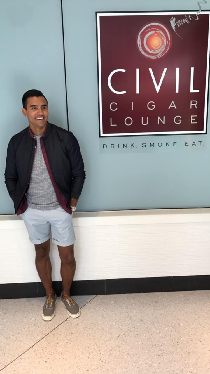 Diego Gonzalez-Zuniga wearing a cigar lounge look from Whiskey Ginger