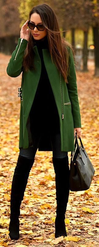 Boots at the Office, black over the knee boots with black outfit and green coat