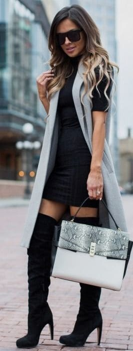 oots at the Office, black over the knee boots with black sweater dress and gray vest