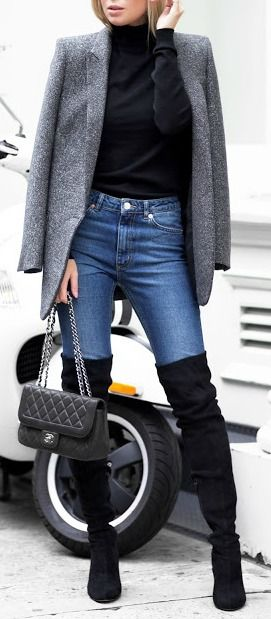 oots at the Office, black over the knee boots with gray blazer and black sweater and jeans