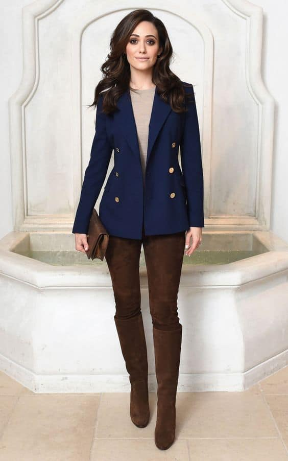 Boots at the Office, suede brown leggings, navy blazer, taupe sweater, over the knee brown boots