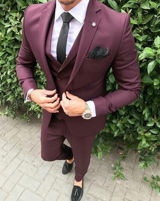 Men's Modern Suiting, men's bordeaux suit