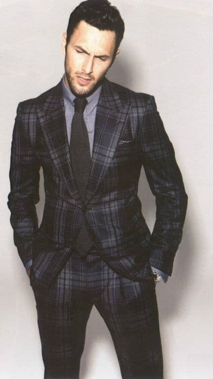 Men's Modern Suits, men's gray and blue plaid suit with gray button-down shirt