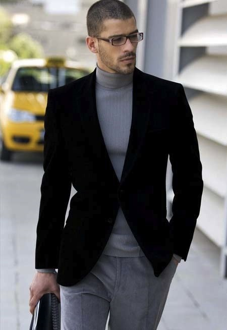 Holiday Office Party Outfit, men's black velvet blazer with gray turtleneck sweater and gray trousers
