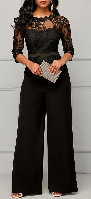 Holiday Office Party Outfits, women's black lace jumpsuit