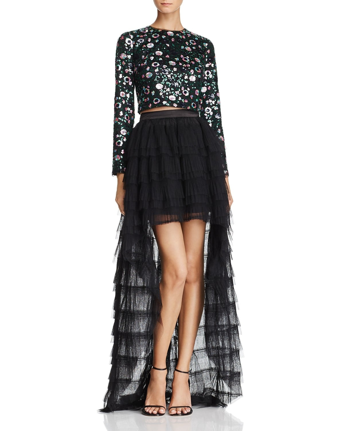New Years Eve Outfit with What You Own, Zendaya x Aqua beaded top and tulle black skirt