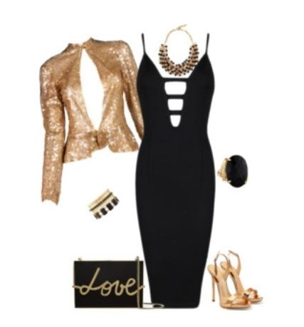 New Years Eve Outfit with What You Own, black cocktail dress, gold sequin jacket, gold high heels, love clutch