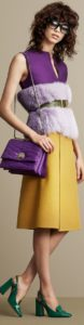 Colors that Beat the Winter Blahs, purple sleeveless top with fur belted with mustard yellow skirt
