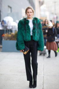 Colors to Beat the Winter Blahs, green fur jacket, black pants, and white top