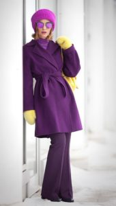 Colors to Beat the Winter Blahs, purple coat and hat with yellow gloves and purse
