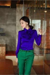 Colors to Beat the Winter Blahs, women's green pants and sapphire blue blouse