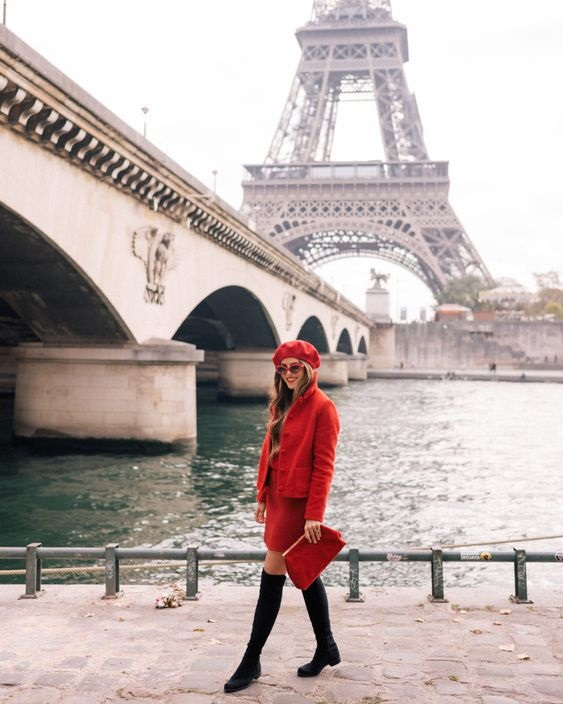 Parisienne Style, cayenne red jacket, cayenne skirt, brown boots, and cayenne beret with sunglasses