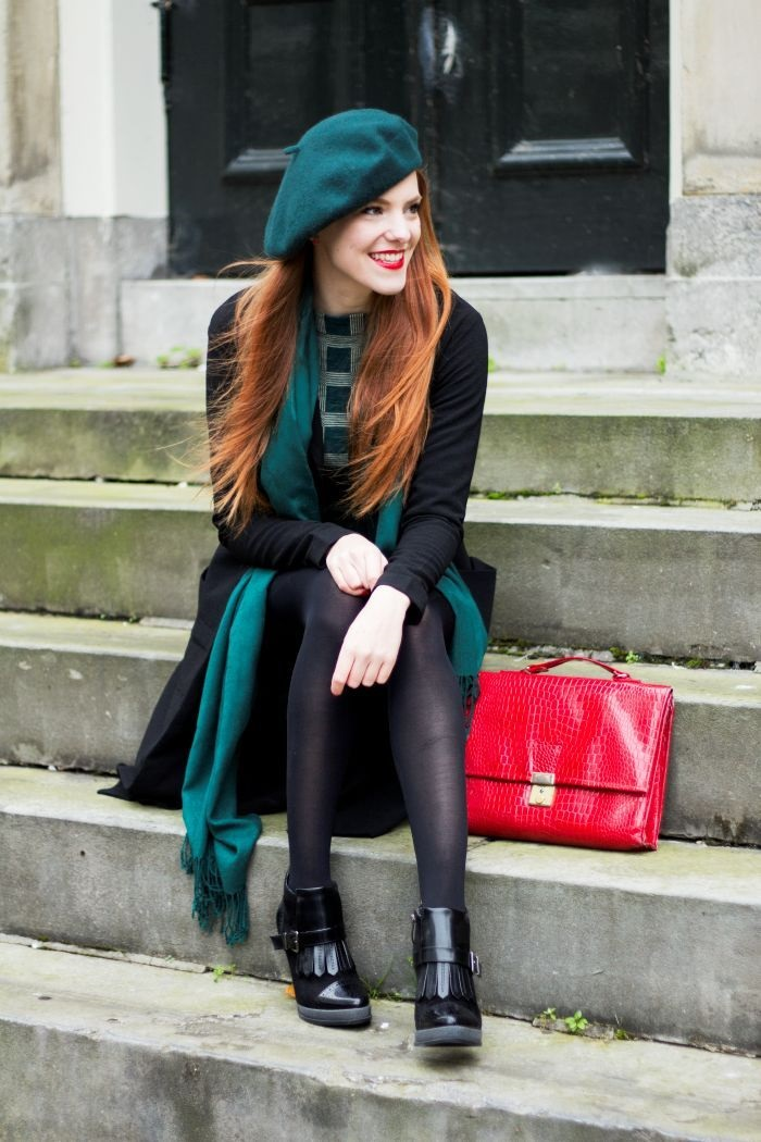 Parisienne Style, wearing a beret, green beret, striped top, black coat and green scarf