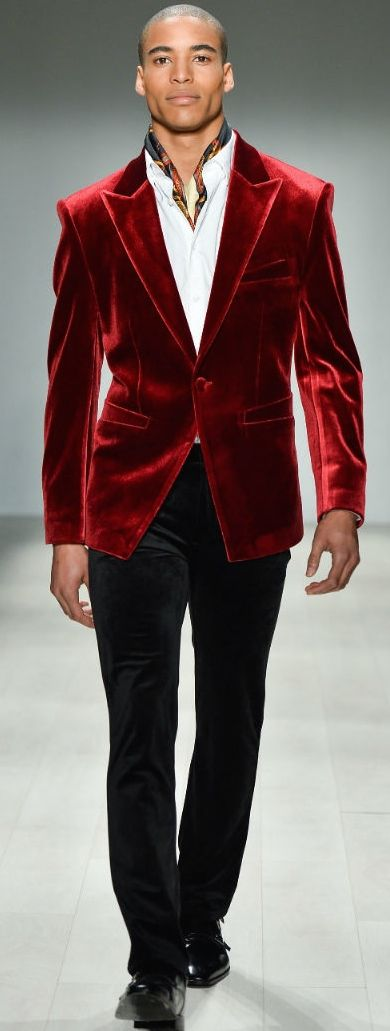 men's night on the town outfits, brick red velvet blazer, white button down shirt, black pants and scarf