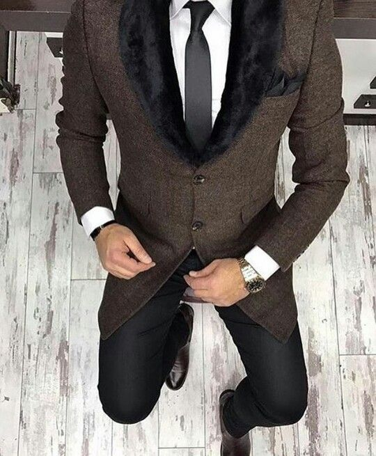 men's night on the town outfits, tweed blazer with black fur collar, black trousers, and white button down shirt