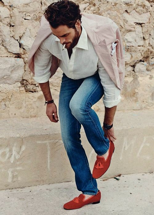 3 Key Pieces that Change Your Look, trendy shoes, men's denim, white shirt, red and orange loafers