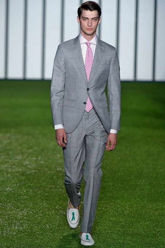 3 Key Pieces that Change Your Look, trendy shoes, men's gray suit with light suede tassel loafers in blue green