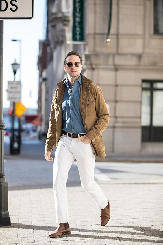 5 must have spring shoes for men, men's chelsea boots, men's spring outfit white jeans, denim shirt, jacket and chelsea boots