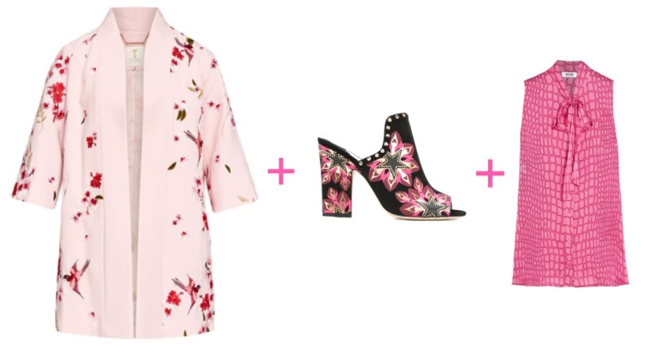 spring outfit, spring print kimono, black and pink mules, Moschino pink print blouse