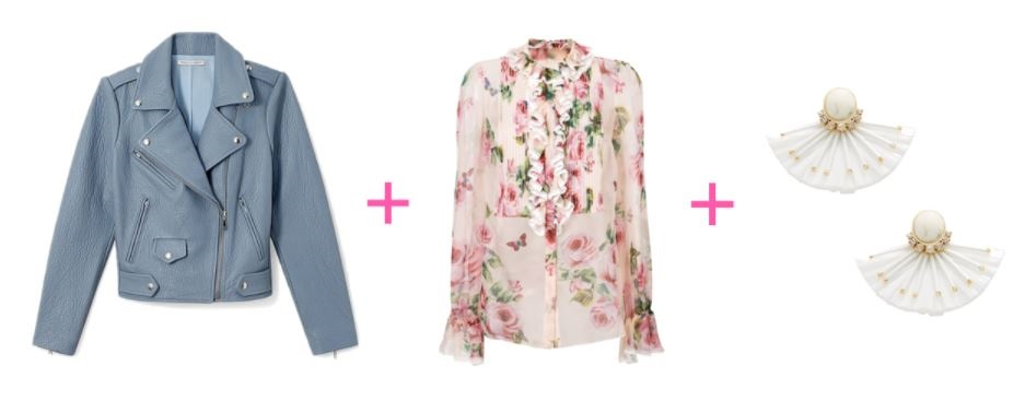 spring outfit, pastel jacket, print blouse, spring statement earrings