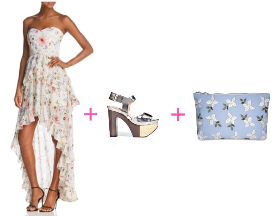 spring statement dress, spring clutch, spring heels