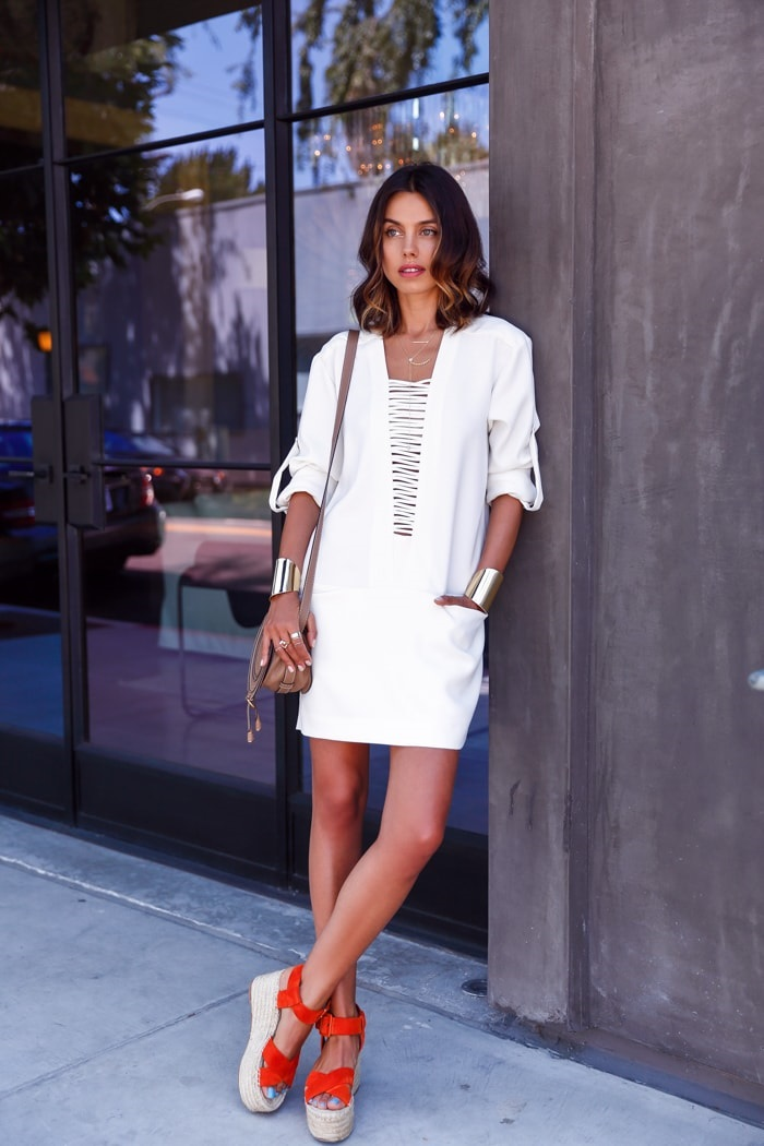 Spring Shoe Trends for women, wedge espadrilles, VivaLuxury  white lace-up dress and colored espadrilles